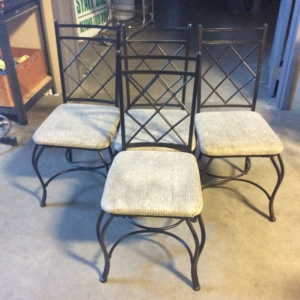 Black chairs with gray cushions